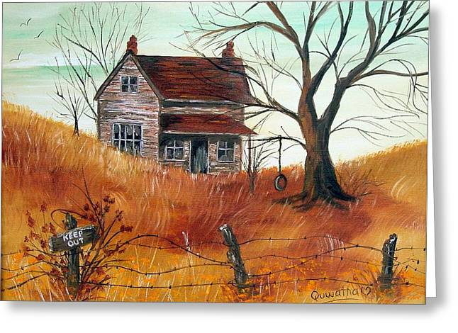Greeting Card featuring the painting Abandoned Farmhouse by Quwatha Valentine