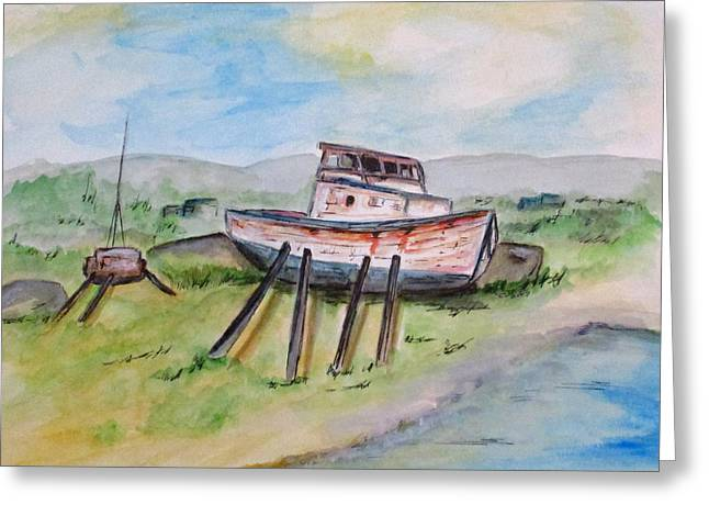 Greeting Card featuring the painting Abandoned Fishing Boat by Clyde J Kell