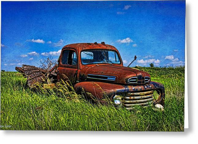 Abandoned Ford Truck In The Prairie Greeting Card