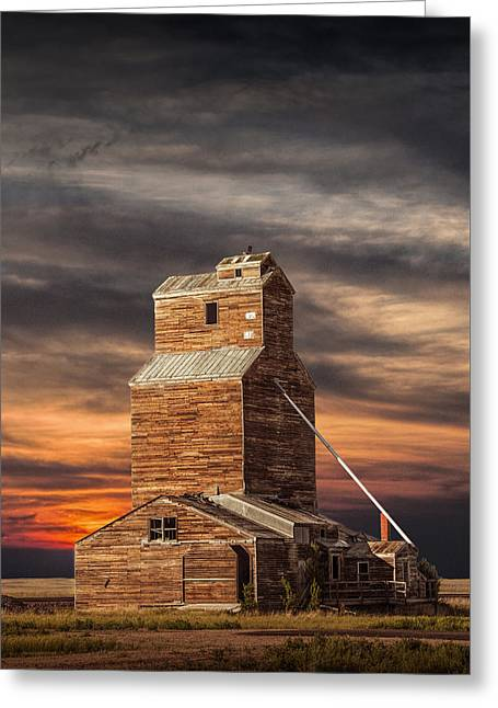 Abandoned Grain Elevator On The Prairie Greeting Card by Randall Nyhof