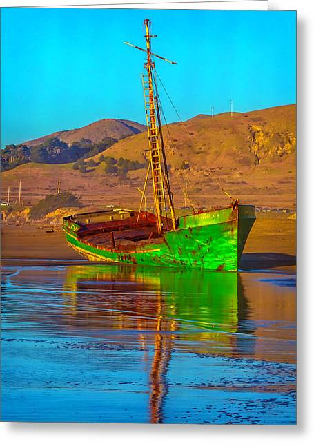 Abandoned Green Boat Greeting Card