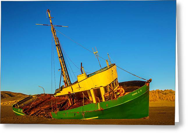 Abandoned Green Fishing Boat Greeting Card