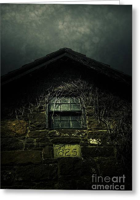 Abandoned Horror House With Creepy Attic Window Greeting Card
