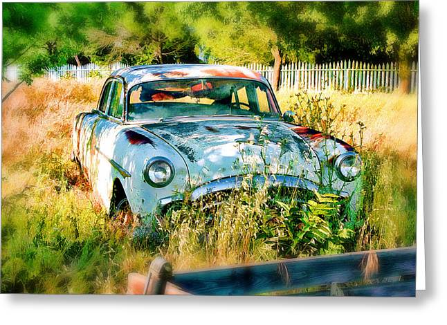 Greeting Card featuring the digital art Abandoned Hotrod by Michael Cleere