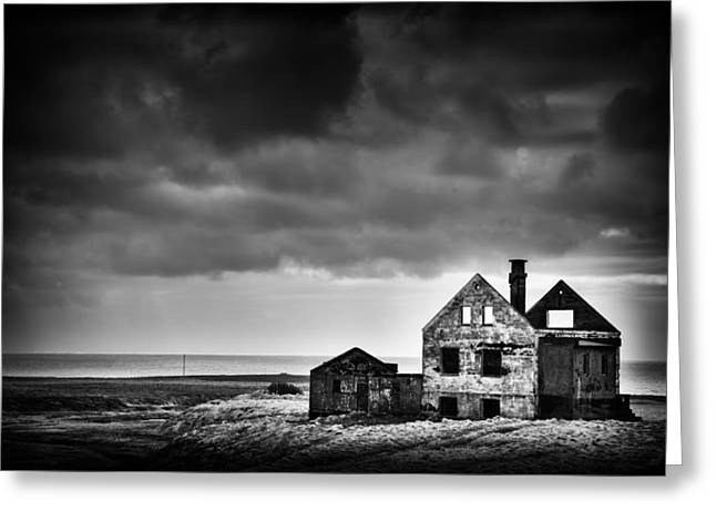 Abandoned House In Iceland Black And White Greeting Card by Matthias Hauser