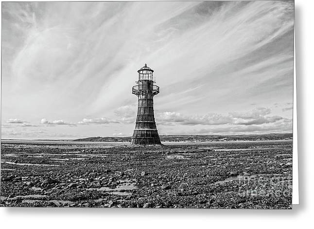 Greeting Card featuring the photograph Abandoned Light House Whiteford by Edward Fielding