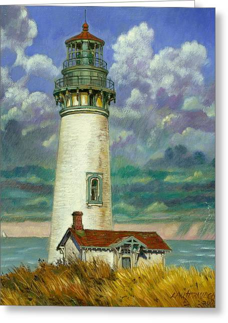 Abandoned Lighthouse Greeting Card by John Lautermilch