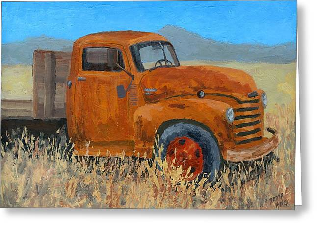 Abandoned Orange Chevy Greeting Card