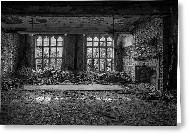 Abandoned Ornate Windows Greeting Card by Mike Burgquist