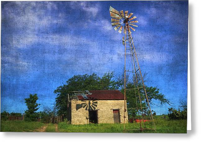 Abandoned Outbuilding And Windmill Greeting Card by Anna Louise