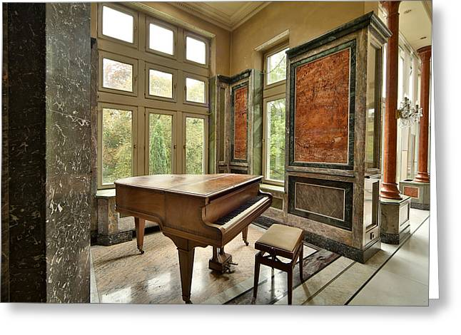 Abandoned Piano - Urban Exploration Greeting Card by Dirk Ercken