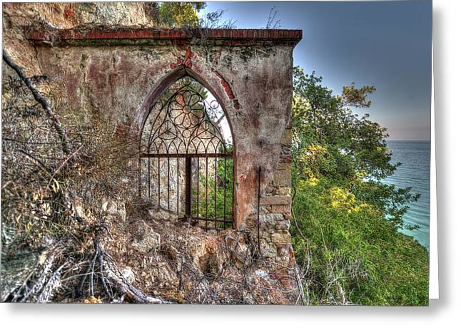 Abandoned Places Iron Gate Over The Sea - Cancellata Sul Mare Greeting Card