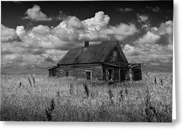 Abandoned Prairie Farm House In Black And White Greeting Card by Randall Nyhof