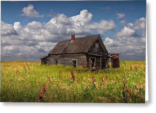 Abandoned Prairie Farm House Under Cloudy Blue Skies Greeting Card