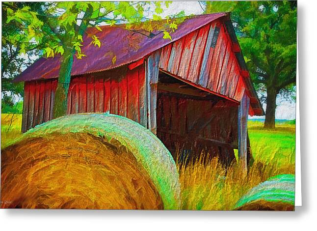 Abandoned Red Barn With Hay Rolls Greeting Card by Anna Louise