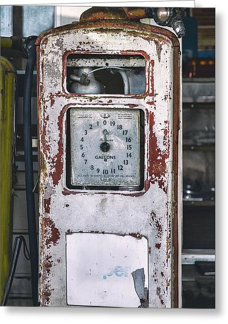 Abandoned Retro Gas Pump Greeting Card by Russ Dixon