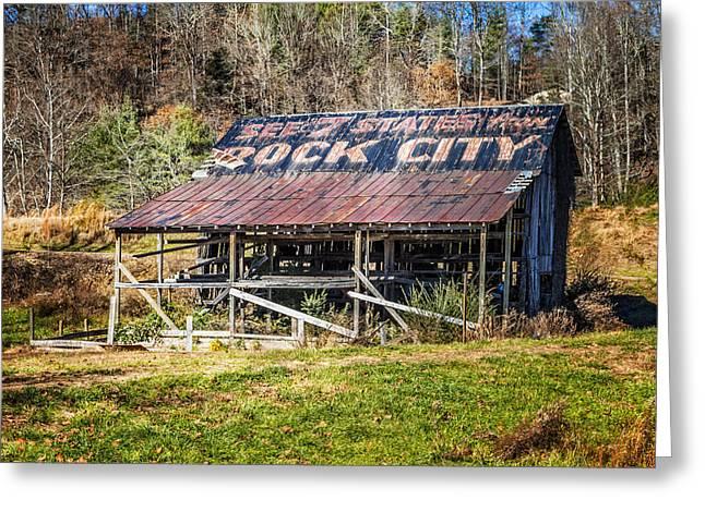 Abandoned Rock City Barn Greeting Card by Debra and Dave Vanderlaan
