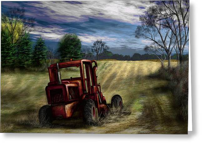 Abandoned Tractor Greeting Card by Ron Grafe