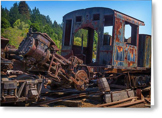 Abandoned Train Engine Greeting Card by Garry Gay