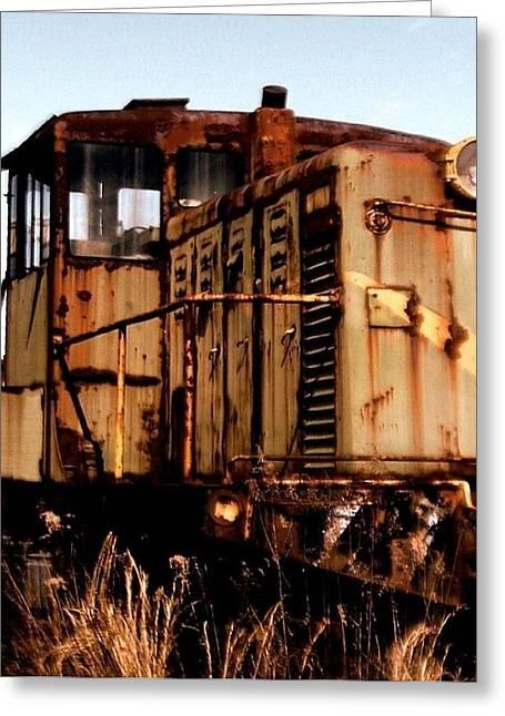 Abandoned Train Greeting Card by Jen McKnight