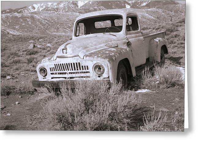 Snow Capped Greeting Cards - Abandoned Truck Greeting Card by Janeen Wassink Searles