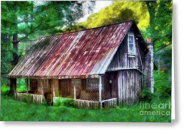 Greeting Card featuring the photograph Abandoned Vintage House In The Woods Ap by Dan Carmichael