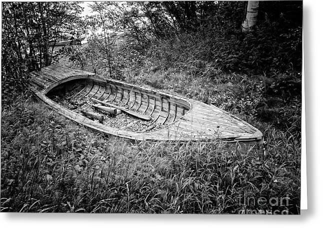 Abandoned Wooden Boat Alaska Greeting Card