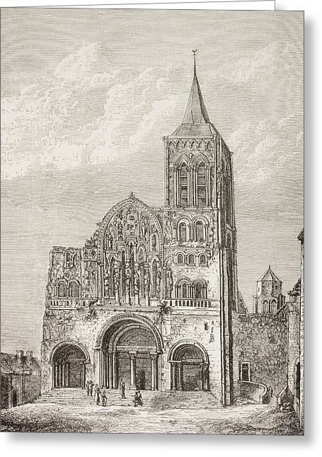 Abbey Church Of The Magdelene, Vezelay Greeting Card by Vintage Design Pics
