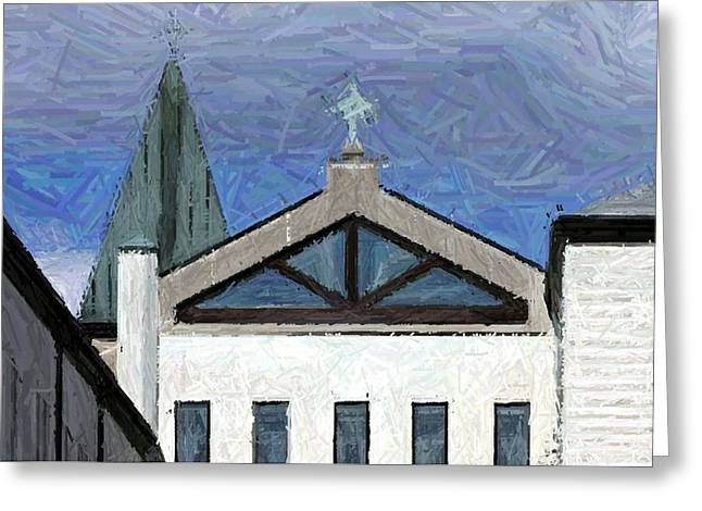 Blue Skies Over Abbey Of Gethsemani Chapel - Trappist Ky Greeting Card by Thia Stover
