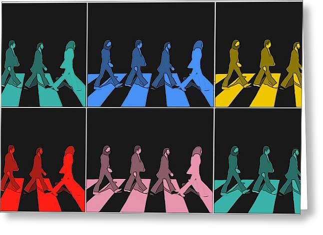 Abbey Road Pop Art Panels Greeting Card by Dan Sproul