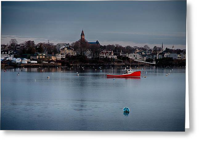 Abbot Hall On Marblehead Harbor At Christmas Greeting Card by Jeff Folger