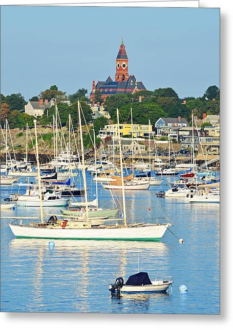Abbot Hall Over Marblehead Harbor From Chandler Hovey Park Greeting Card