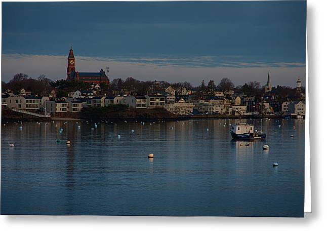 Abbot Hall Reflection On Marblehead Harbor At Christmas Greeting Card by Jeff Folger