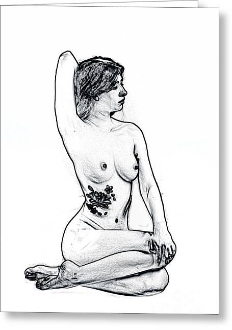 Model 3001 Fine Art Nude Drawings In Black And White 1103.01 Greeting Card by Kendree Miller