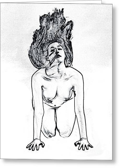 Model 3001 Fine Art Nude Drawings In Black And White 1104.01 Greeting Card
