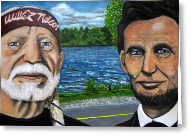 Abe And Willie Greeting Card by Joshua Bloch