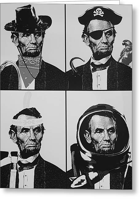 Abe Does It All In B W Greeting Card by Rob Hans