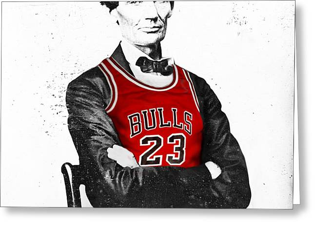 Abe Lincoln In A Michael Jordan Chicago Bulls Jersey Greeting Card