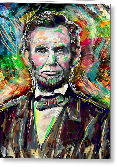Abe Lincoln Painting Greeting Card by Pat Spark