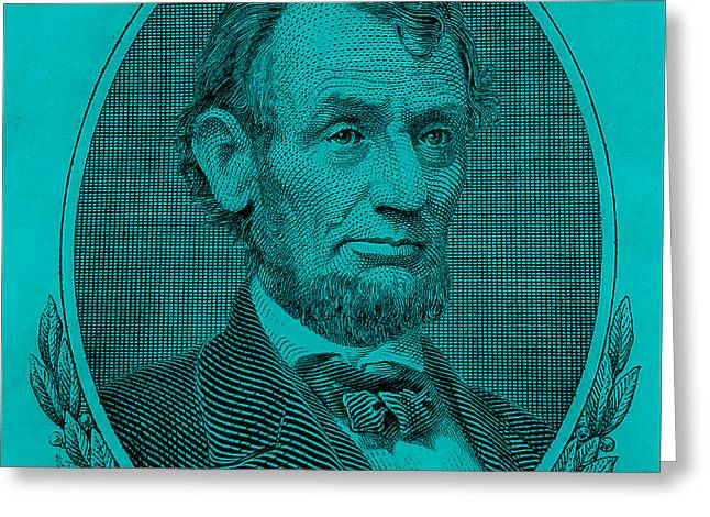 Greeting Card featuring the photograph Abe On The 5 Aqua Blue by Rob Hans