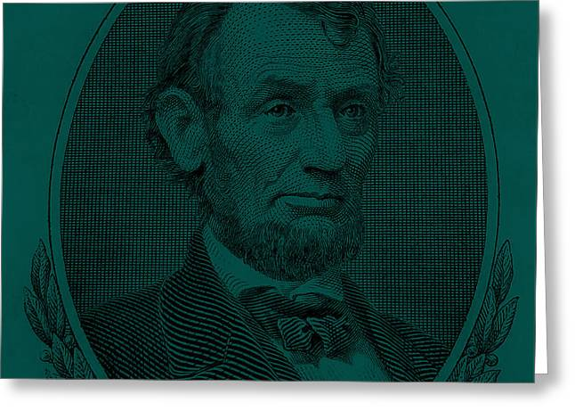 Greeting Card featuring the photograph Abe On The 5 Greenishblue by Rob Hans