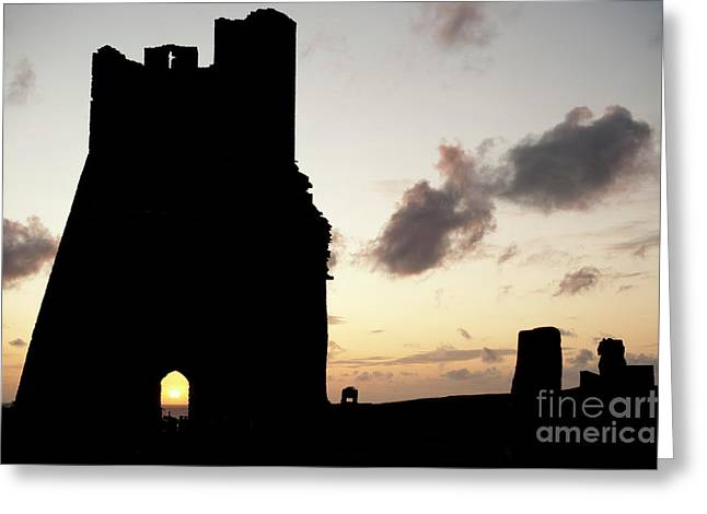 Aberystwyth Castle Tower Ruins At Sunset, Wales Uk Greeting Card