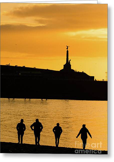 Aberystwyth Sunset Silhouettes Greeting Card