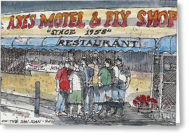 Abes Motel And Fly Shop Greeting Card by Tim Oliver