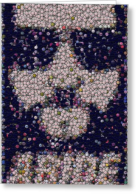 The Dude Greeting Cards - Abide Bottle Cap Mosaic Greeting Card by Paul Van Scott