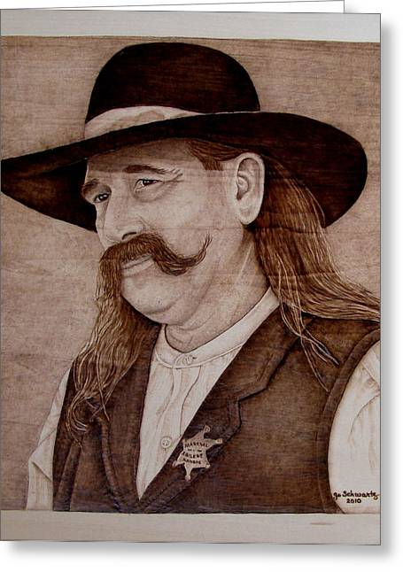 Mustache Pyrography Greeting Cards - Abilene Marshal Greeting Card by Jo Schwartz
