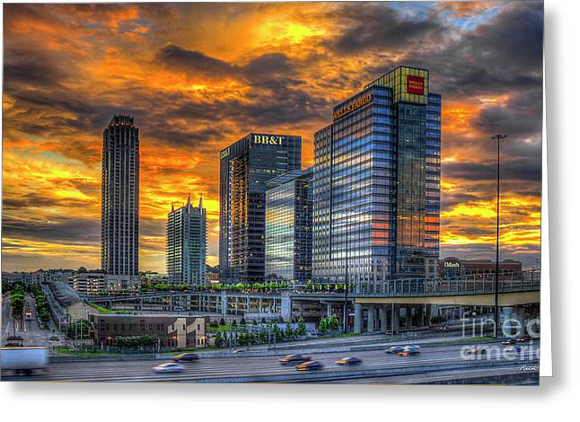 Ablaze Reflections Atlanta Midtown Sunset Art Greeting Card by Reid Callaway