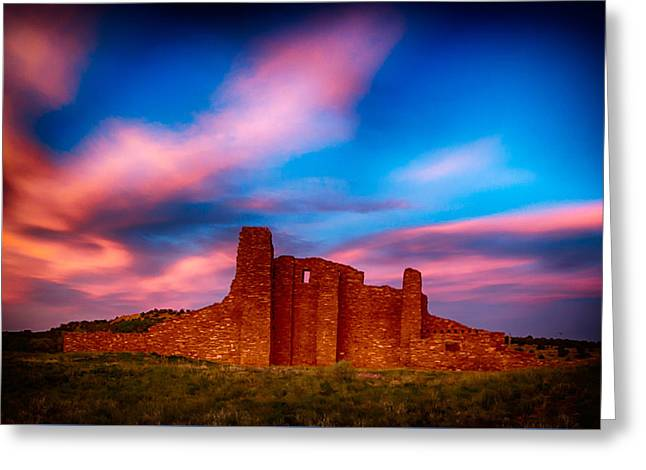 Abo Pueblo Mission Ruins Lit By Sunset Greeting Card by Bartz Johnson