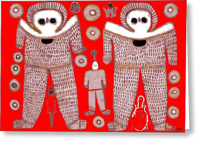 Aboriginal Astronauts Greeting Card by Raphael Terra