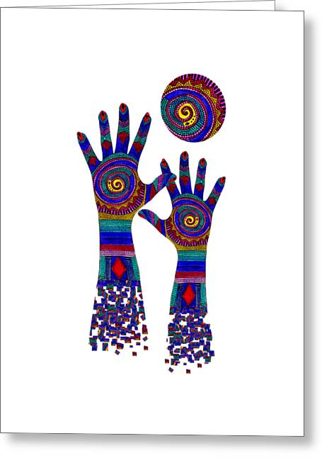 Aboriginal Hands Blue Transparent Background Greeting Card by Barbara St Jean